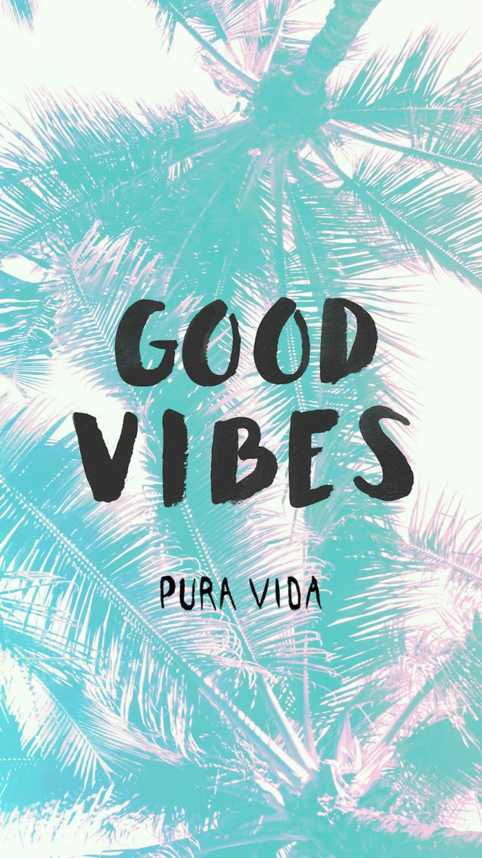 good vibes, pink iphone wallpaper, palm trees in the background