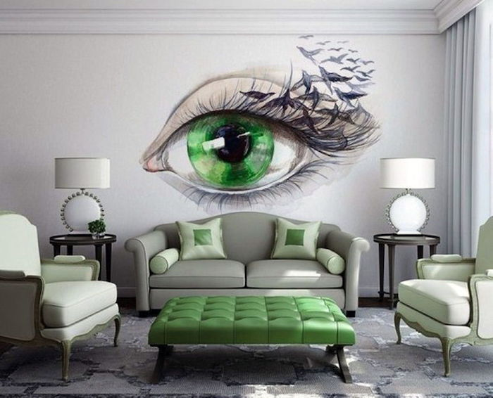 green eye painting on the white wall, grey sofa, living room paint ideas, green stool and armchairs