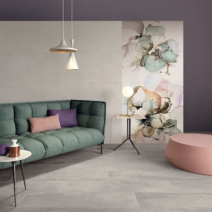 floral tiled an purple wall, accent wall ideas, green sofa, pink stool, small wooden coffee table