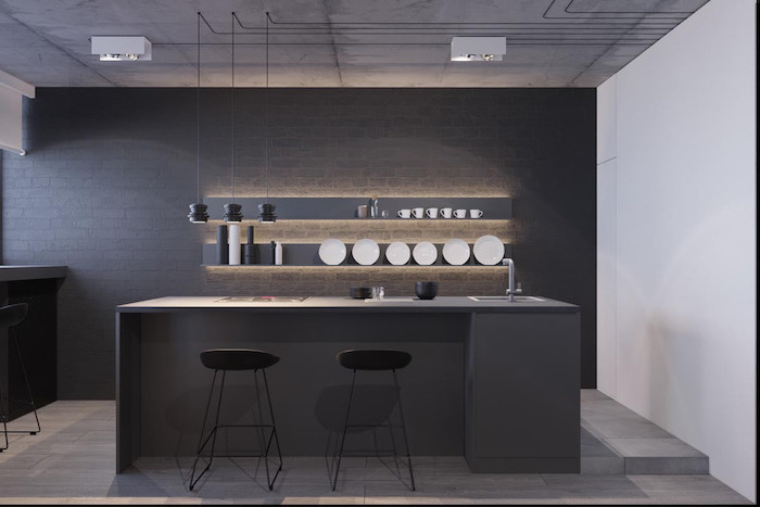 black brick wall, black stools, grey kitchen island and shelves, kitchen wall decor ideas