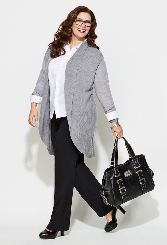 long grey cardigan, black trousers and shoes, white shirt, business casual dress code, leather bag