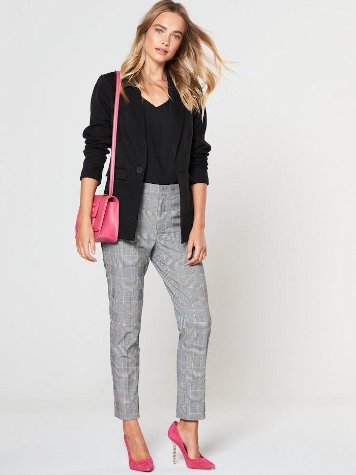 hot pink bag and velvet heels, black top and blazer, business casual dress code, light grey trousers