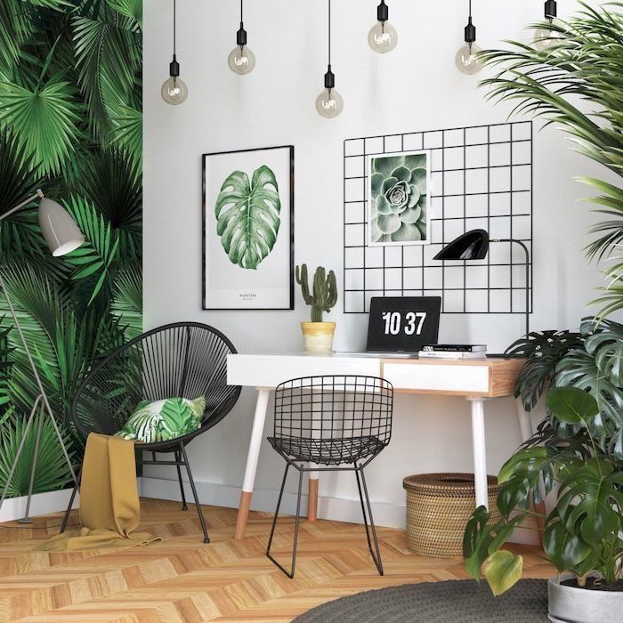 floral prints on the walls, hanging lamps, wooden desk, desk ideas, black metal chairs