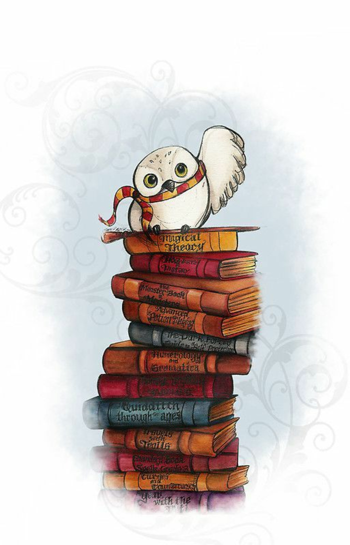 harry potter inspired wallpaper, pink iphone wallpaper, stack of books, hedwig the owl