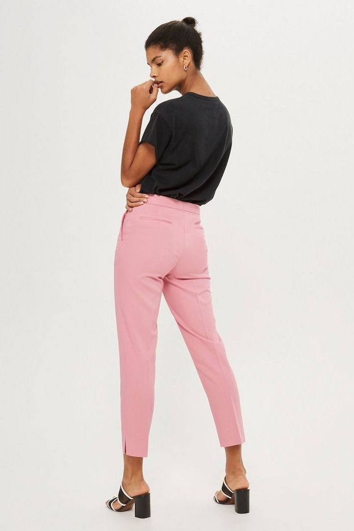 what is casual dress, light pink trousers, black shirt, black open toe shoes