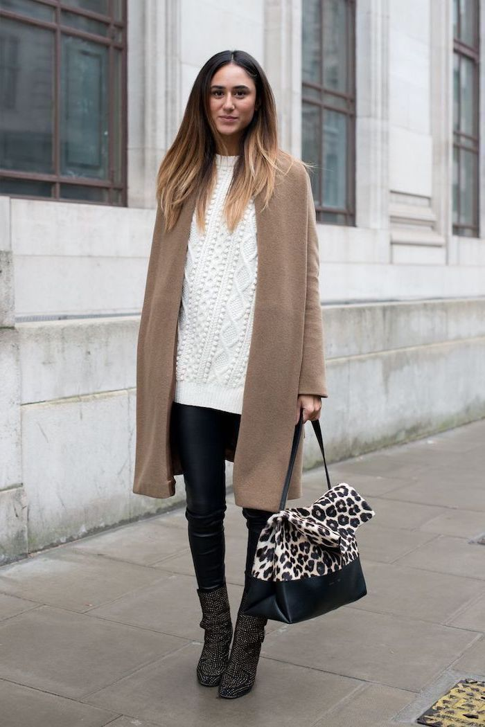 white sweater, faux leather trousers, black boots, business casual outfits for women, long brown coat, leopard print bag
