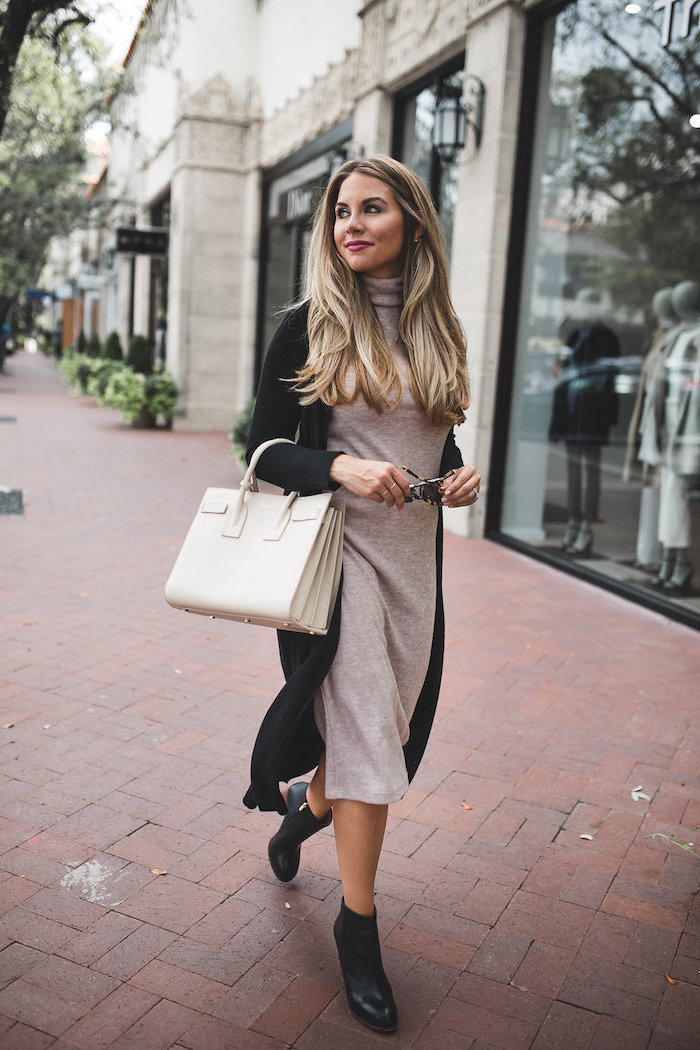black boots, long black cardigan, business casual female, long grey dress, white leather bag