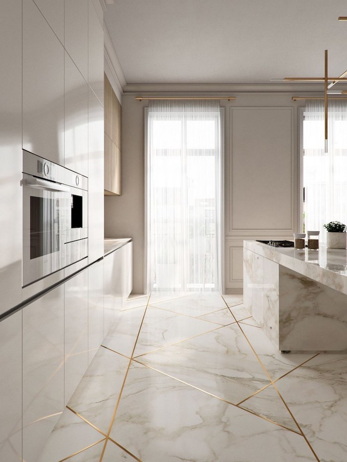 marble kitchen island and floor, white cabinets, kitchen design ideas, golden geometrical shapes on the floor