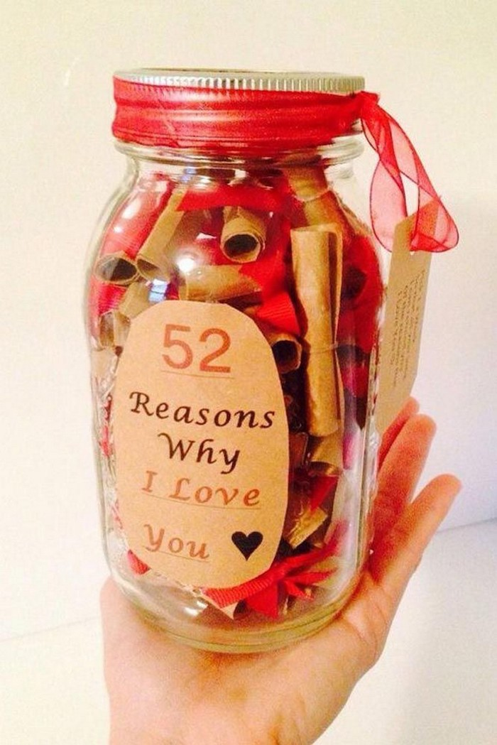 fifty two reasons why i love you, mason jar, special love messages, creative valentine's day gifts for boyfriend