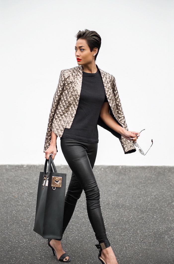 faux leather trousers, black top, open toe shoes, business professional attire, metallic gold blazer, leather bag