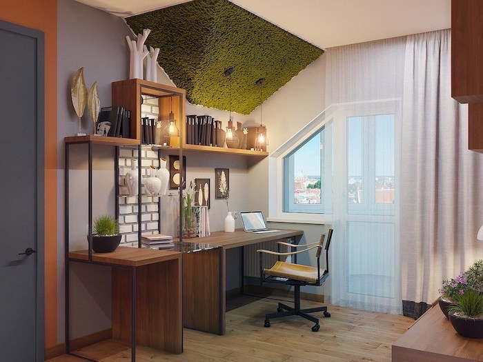 moss on the ceiling, wooden desk with yellow chair, hanging lamps, office decor ideas