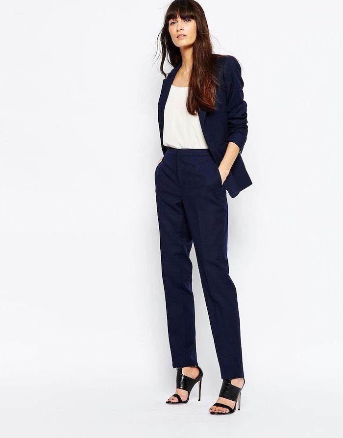 navy blue trousers and blazer, white top, black open toe shoes, work clothes for women