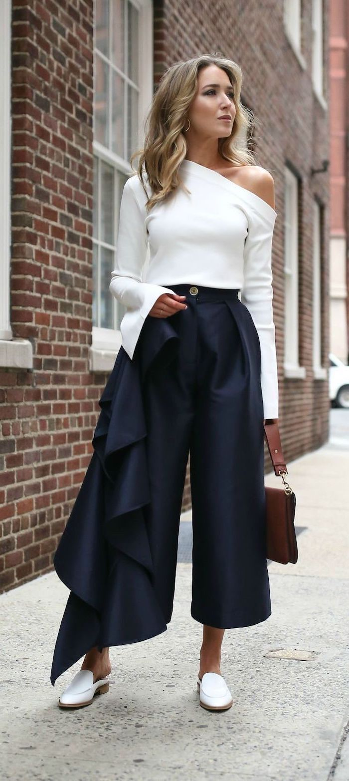 white loafers, business professional attire, white off shoulder blouse, navy trousers, brown bag