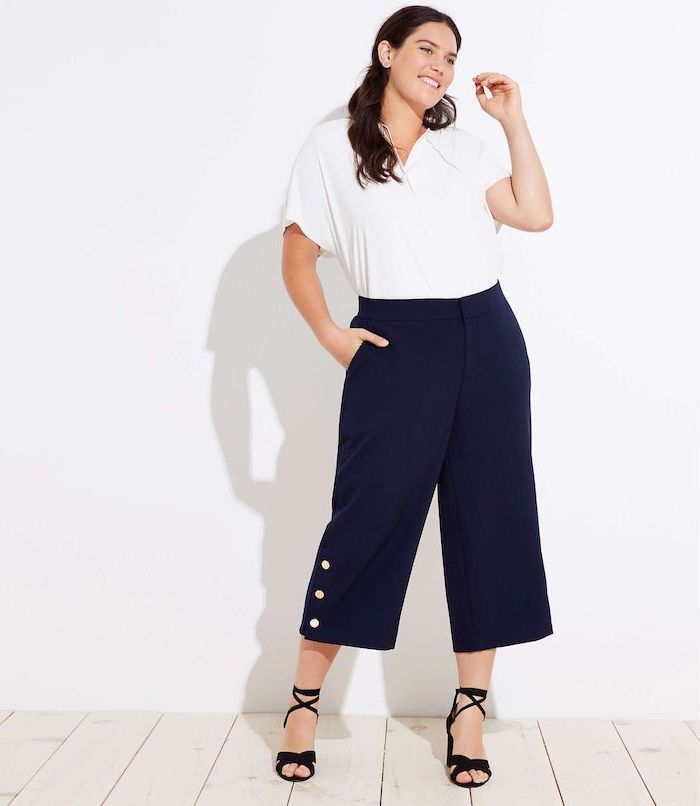 navy blue trousers, business casual attire, white shirt, black open toed heels