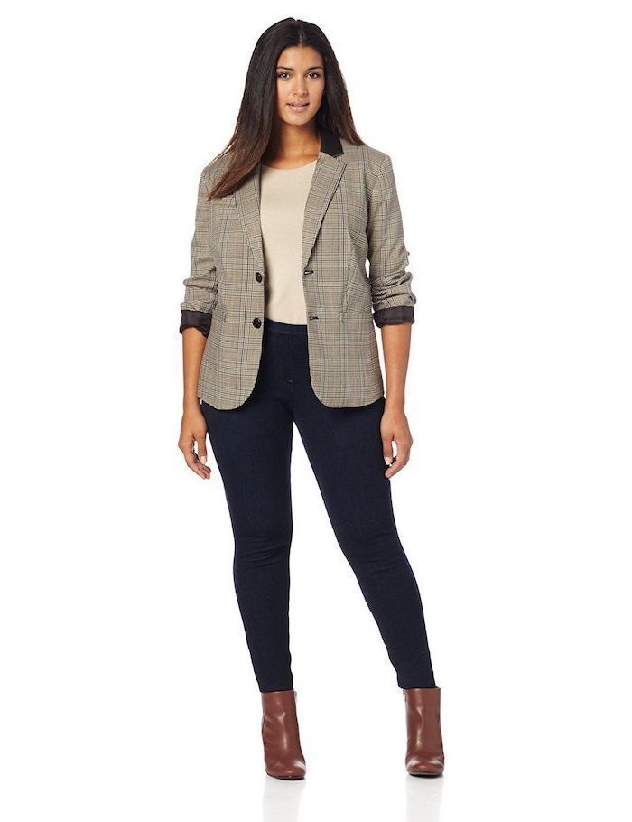 grey blazer, dark jeans, business casual outfits for women, brown leather boots, grey blouse
