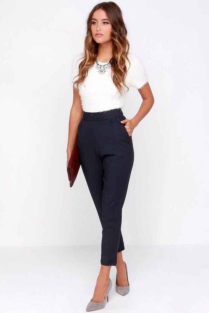white top, navy trousers, casual wear for women, grey velvet high heels, red leather clutch