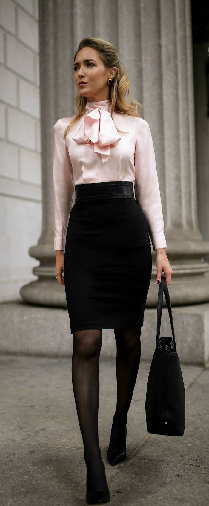 pink satin shirt, black pencil skirt, business wear for women, leather bag, black tights and shoes