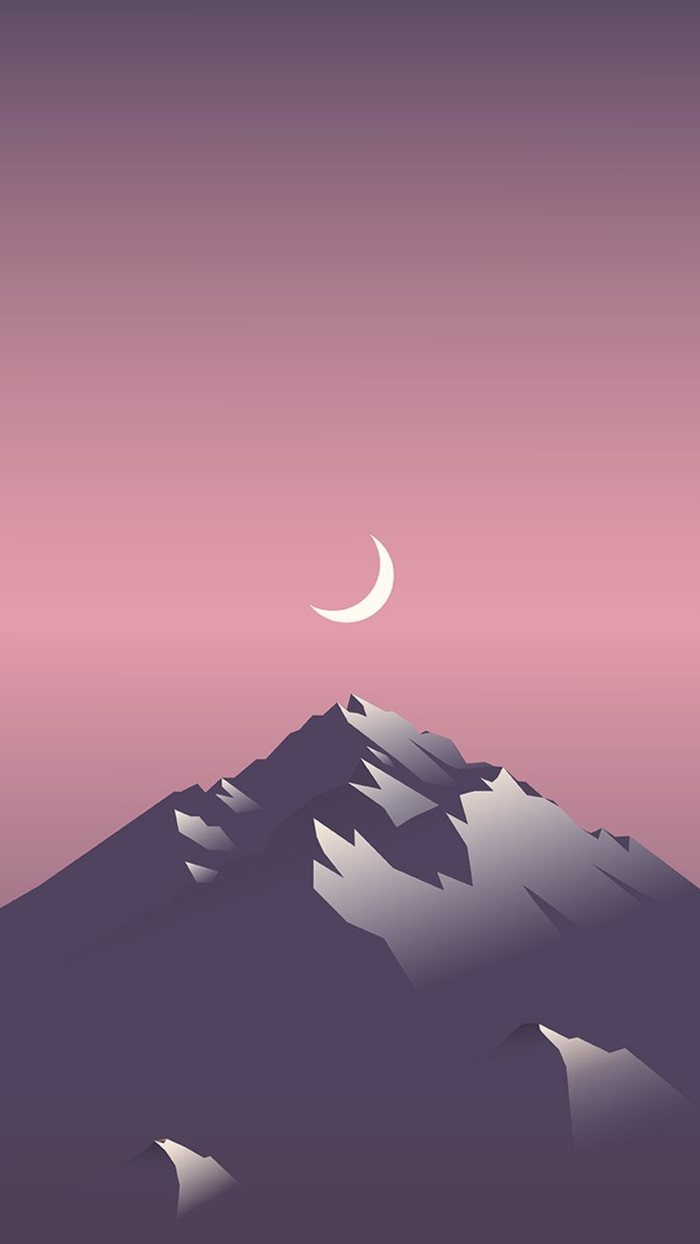 grey mountain, pink and purple sky, iphone backgrounds, beautiful view drawing