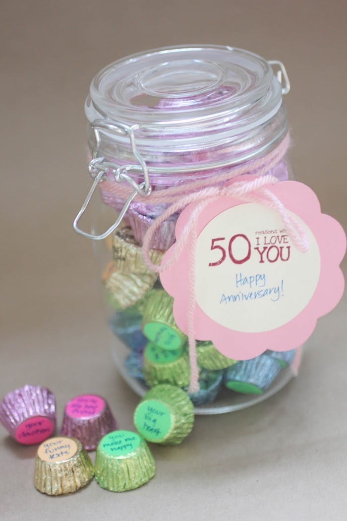 mason jar full of candy, special message, green yellow and pink candy, personalised gifts for boyfriend