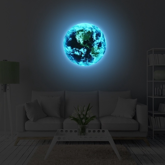 planet earth glow in the dark, living room paint ideas, white sofa and coffee table, flowers in a vase