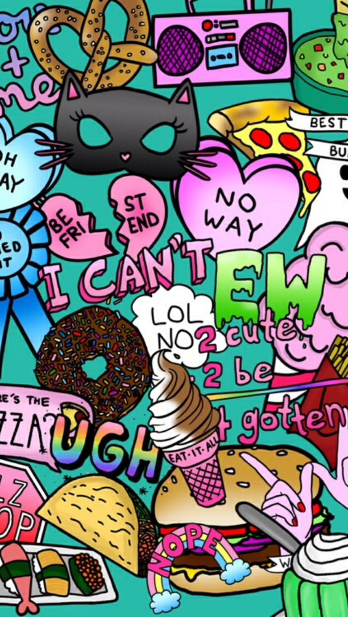 pop culture references, colourful items, iphone wallpaper, ice cream donuts and conversation hearts