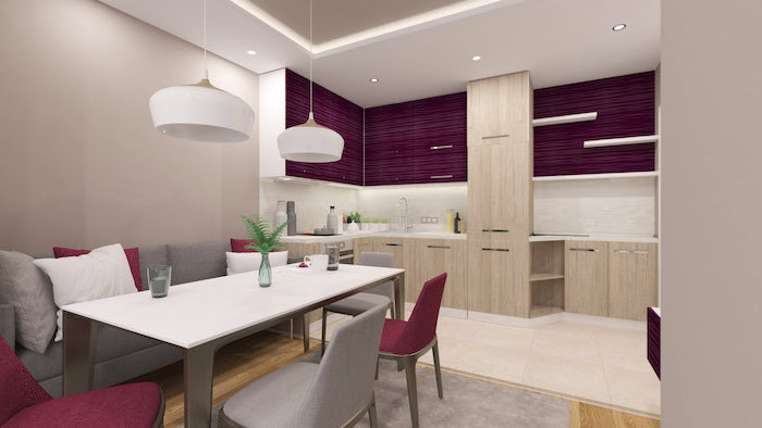 purple cabinets, wooden cabinets and drawers, modern kitchen ideas, grey sofa