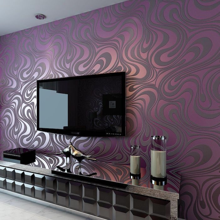 purple and grey patterned wallpaper, feature wall, wooden and glass cabinet