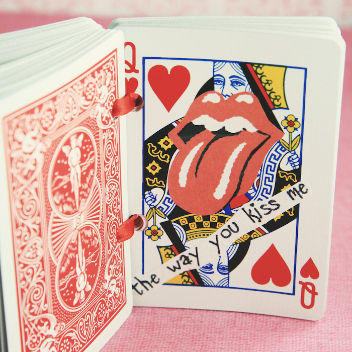 queen of hearts, deck of cards, the way you kiss me, special message, romantic homemade gift ideas for boyfriend