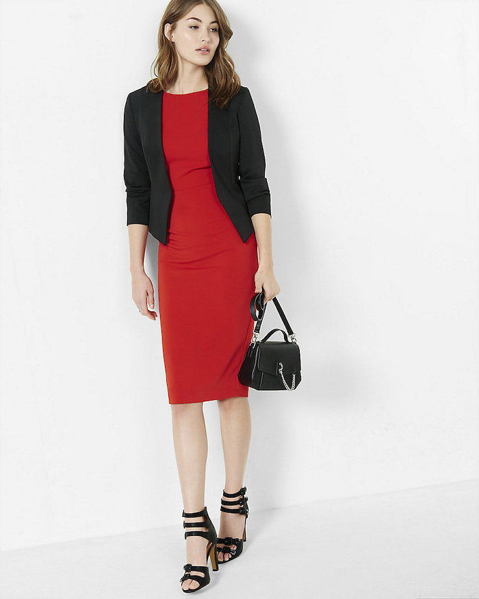 red dress, business attire for women, black blazer, open-toe shoes, small black bag