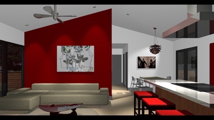 red geometrical wall with a painting, beige corner sofa, accent wall ideas bedroom, red bar stools