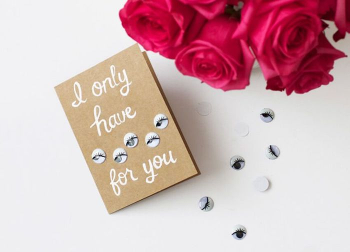 i only have eyes for you, googly eyes, handmade card with a message, cute gifts for boyfriend