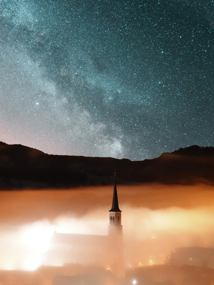 starry sky, iphone wallpaper high quality, orange mist, black mountains