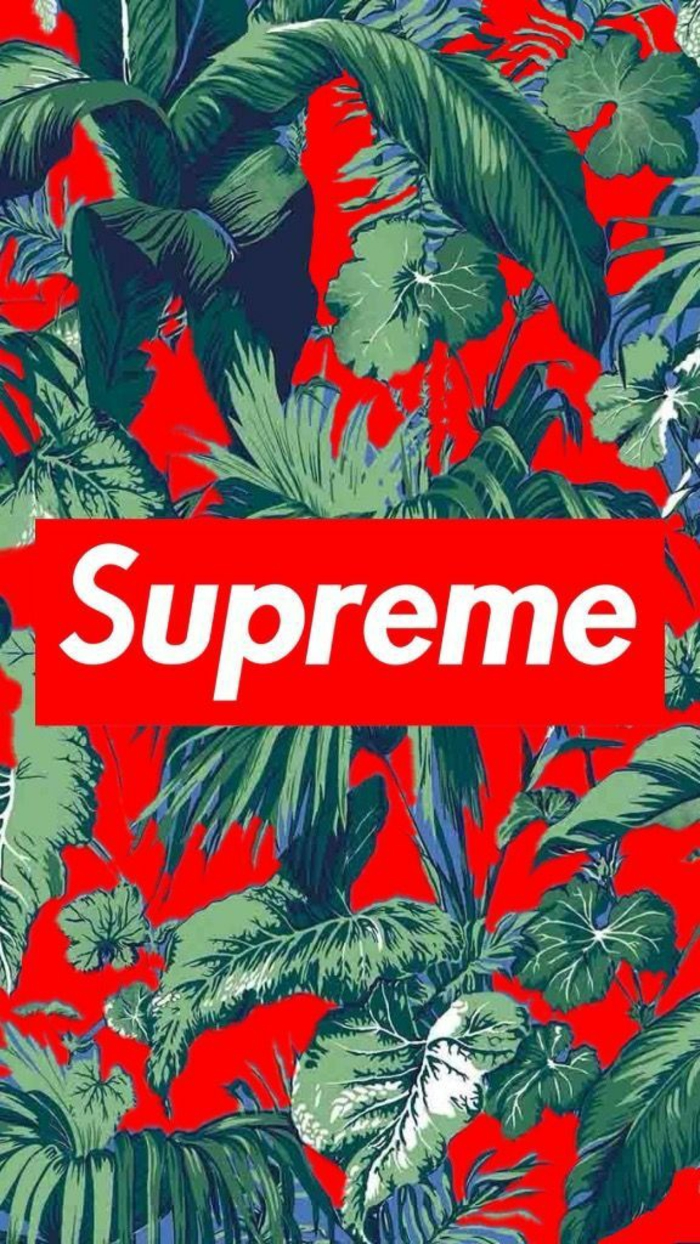 supreme logo, red background, simple iphone wallpaper, green leaves