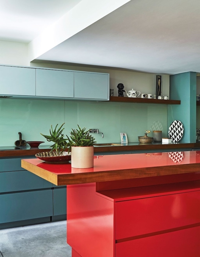 turquoise backsplash, blue cabinets, red kitchen island, kitchen cabinet design