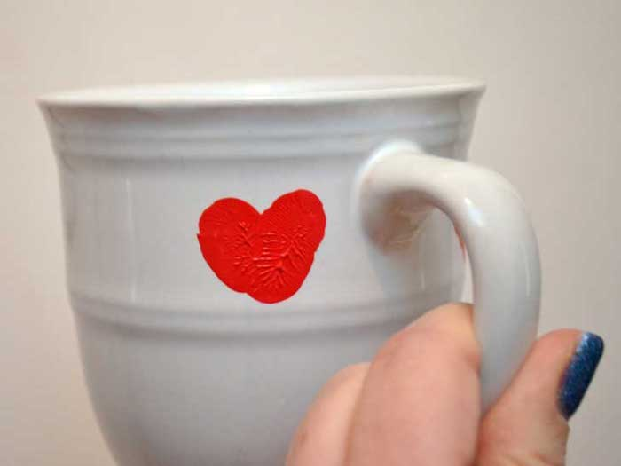 white mug, red heart shaped thumbprint, valentine's day gifts for boyfriend