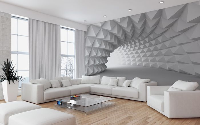 wooden floor, blue accent wall, white tunnel 3d wallpaper, white corner sofa and armchair