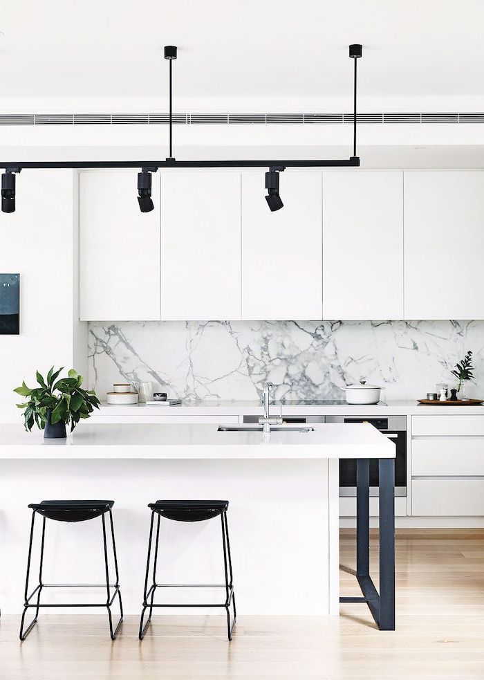 marble backsplash, kitchen ideas, white cabinets and kitchen island, black stools