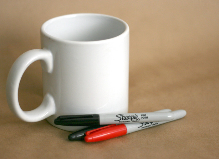 white mug, red and black sharpies, romantic gift ideas for boyfriend