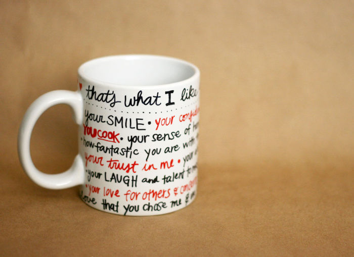 coffee mug with written messages on it, that's what i like about you, cute gifts for boyfriend