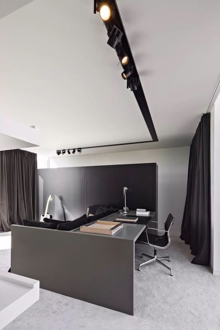 black curtains, black wooden desk and chair, white rug, home ideas, guitar on the floor