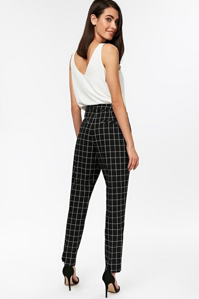 black shoes, white top, casual wear for women, white and black stripe trousers