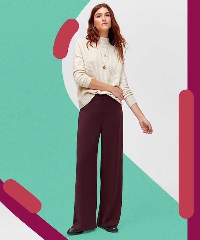 burgundy trouser, white turtleneck, black shoes, summer business casual