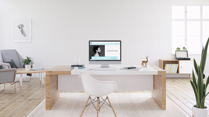 wooden desk and floor, white chair, grey armchairs, office ideas, desktop computer, white rug