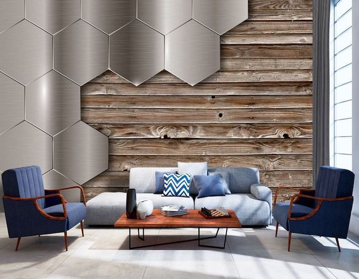 metal honeycomb tiles and wood 3d wallpaper, blue armchairs, brick accent wall, blue sofa