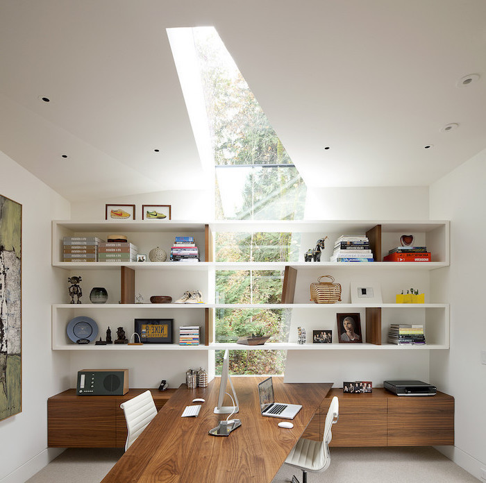 large window from the floor to the ceiling, white and wooden bookshelves and cupboards, home office ideas, white leather chairs