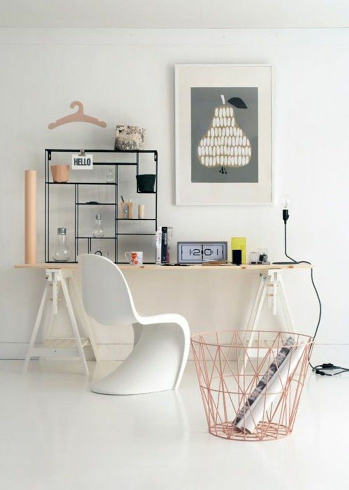 white walls and floor, small metal bookcase, work office decor, wooden desk, white chair