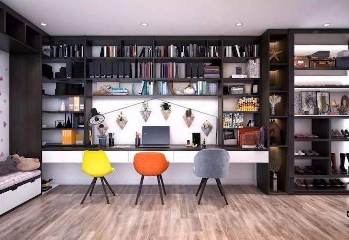 large black wooden bookcase, yellow orange and grey chairs, business office decorating ideas, wooden floor