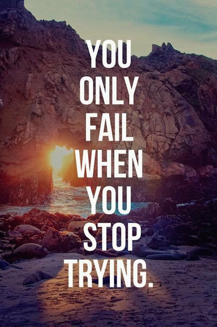 you only fail when you stop trying, beach view with rocks, cool iphone wallpapers