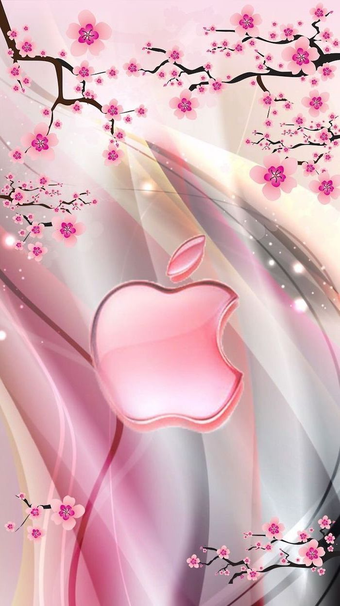 apple logo in the middle, blooming tree branches drawn, spring backgrounds, colourful phone wallpaper