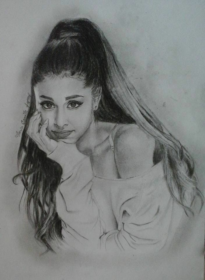 black and white sketch, anime girl drawing, ariana grande inspired drawing, long high ponytail